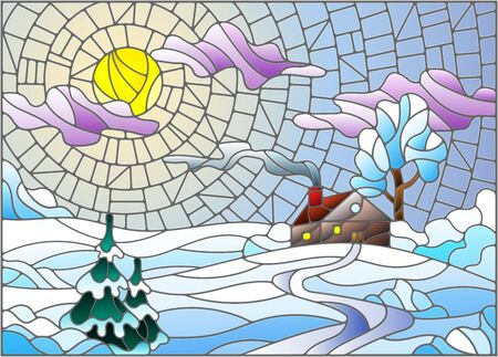 Illustration in vintage style winter landscape, village house and fir-tree on a background of snow, sky and sun