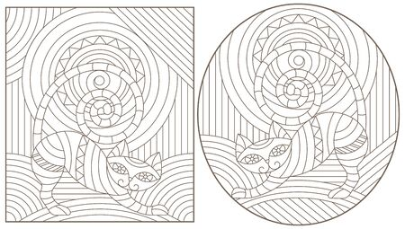 Set of outline illustrations in the style of stained glass with abstract cats , dark outlines on white background