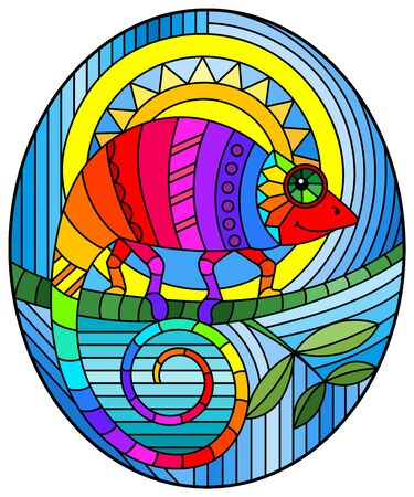 Illustration in stained glass style with abstract geometric rainbow chameleon, oval image