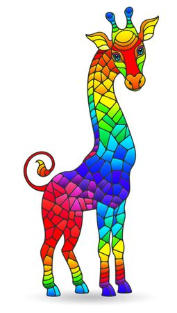 Illustration in stained glass style with figure of abstract rainbow giraffes, isolated on a white background