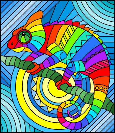 Illustration in stained glass style with abstract geometric rainbow chameleon Vetores