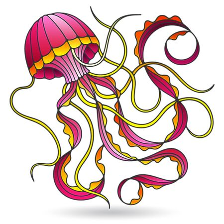 Illustration in stained glass style with jellyfish, isolated on a white background Ilustração