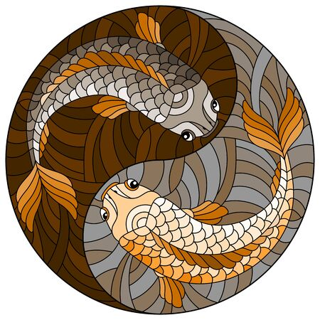 Illustration in stained glass style with two fishes in the form of the Yin Yang sign, round image, tone brown