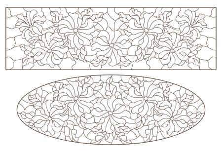 A set of contour illustrations of stained glass with flowers of petunia, oval and rectangular image , dark contours on a white background Illusztráció