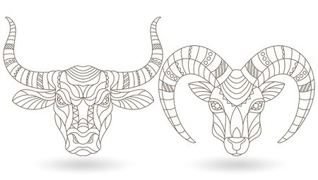 Set of contour stained glass elements with heads of horned animals,bull and goat, dark contours on white background