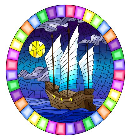 The Eastern ship with red sails on the background of night sky, moon and ocean, round image in bright frame Vetores
