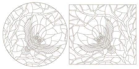 Set contour illustrations of stained glass with  flying owls, dark contours on a light background