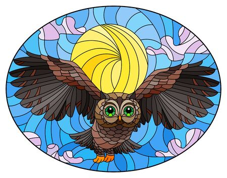 Illustration in stained glass style with wild owl flying against the sky and sun