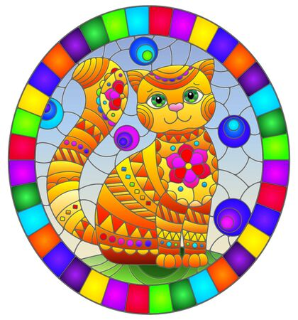 Illustration in stained glass style with abstract cute red cat on a blue background, oval image in bright frame