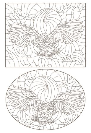 Set of contour illustrations with owls against the sky, dark contours on white background