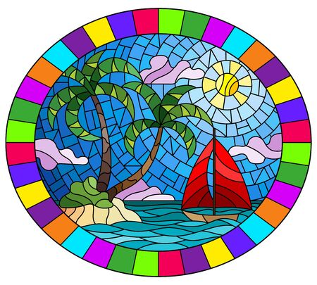 Illustration in stained glass style with a tropical sea landscape, coconut trees on the sandy beach and a ship , oval image in bright frame