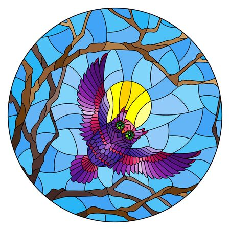 The illustration in stained glass style painting with the fabulous purple owl in the day sky and sun in between the branches of the tree, round image