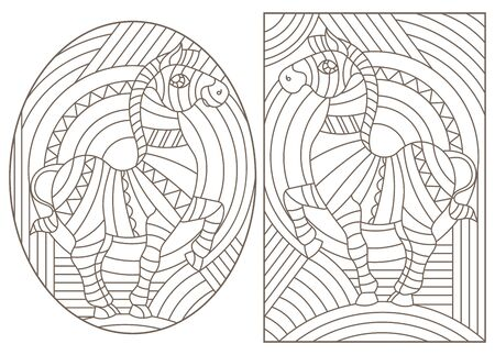 Set of outline illustrations with abstract Zebras, dark outlines on light background