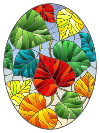 Illustration in stained glass style with colorful leaves of trees on a blue  background, oval image