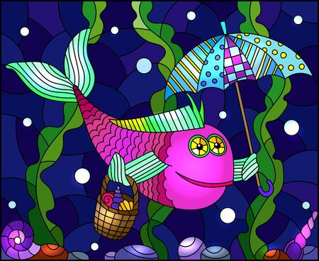 Illustration in stained glass style with cartoon funny pink fish under an umbrella on the background of the seabed and algae