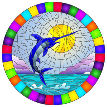 Illustration in stained glass style with a fish swordfish on the background of water ,cloud, sky and sun, round image in a bright frame