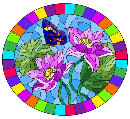 Illustration in stained glass style with flowers, buds and leaves of a pink Lotus and a butterfly on a blue sky background, oval image in bright frame Stock Illustratie