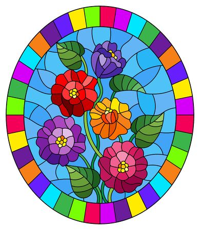 Illustration in stained glass style with a bouquet of multicolored tsiniya flowers, oval image in a bright frame