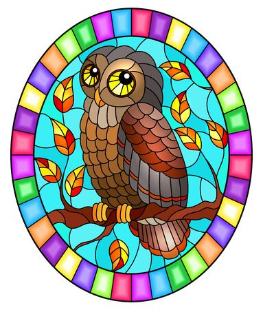 Illustration in stained glass style with fabulous owl sitting on a autumn tree branch against the sky, oval image in bright frame