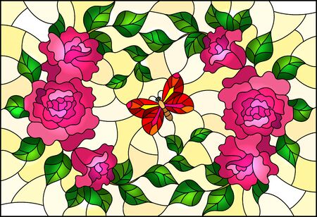 Illustration in stained glass style with pink flowers and leaves of  rose, and red butterfly on a yellow background