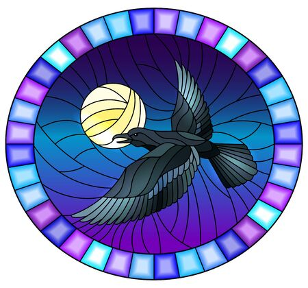 Illustration in stained glass style raven on the background of sky and moon, oval image in bright frame