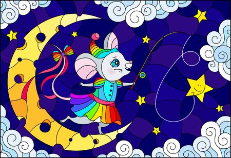 Illustration in stained glass style with a cute cartoon mouse with a fishing rod standing on the moon, against the background of the night sky with clouds and stars