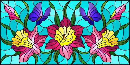 Illustration in stained glass style with a bouquet of pink daffodils and purple butterflies on a blue background