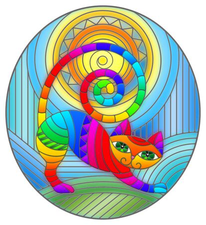 Illustration in stained glass style with abstract geometric cat and the sun on an abstract blue background, oval image Archivio Fotografico - 141695571
