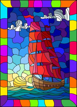 Illustration in stained glass style with an old ship sailing with red sails against the sea, sun and sky, seascape in a bright frame