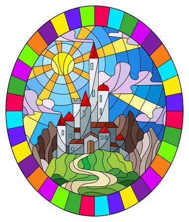 Illustration in stained glass style landscape with old castle on the background of sky, sun and mountains, oval image in bright frame
