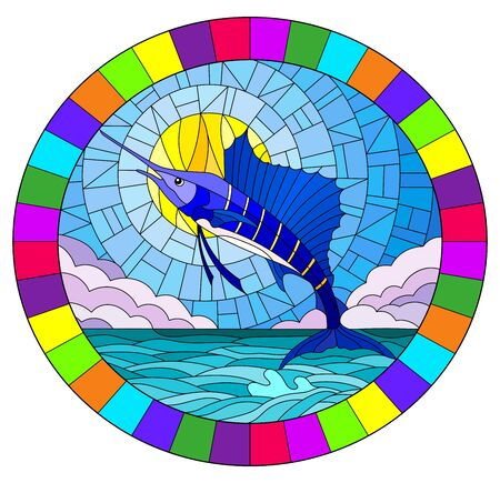 Illustration in stained glass style with a fish sailboat on the background of water ,cloud, sky and sun, oval image in bright frame
