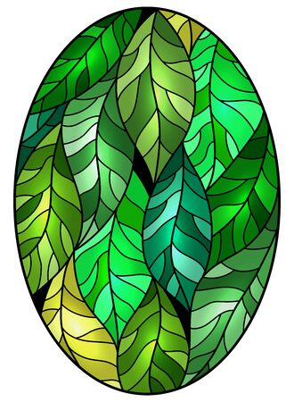 Illustration in stained glass style with green leaves trees on a dark background, oval image