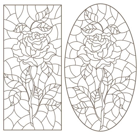 Set of contour illustrations of stained glass with roses  , dark contours on a white background Vettoriali