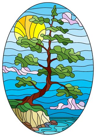 Illustration in the style of stained glass with a lone pine tree standing on the Bank on the background of sky, sun and water, oval image