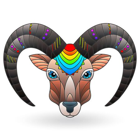 Abstract illustration in stained glass style with a bright animal head of a RAM isolated on a white background