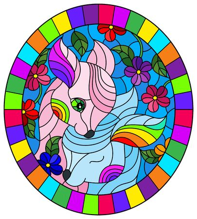 Illustration in stained glass style with two fawns on a background of bright flowers and the sky, oval image in bright frame Illustration