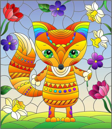 Illustration in a stained glass window with an abstract cute Fox on a background of flowers and sky