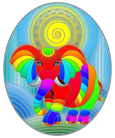 Illustration in stained glass style with funny rainbow elephant and sun on abstract background , oval image