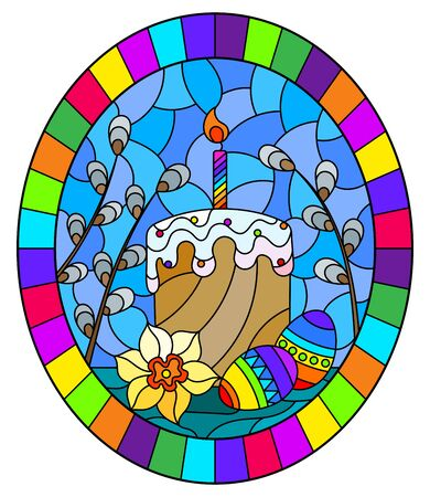 Illustration in stained glass style with an Easter still life , cake and Easter eggs on the background of willow branches and the sky, oval image in bright frame