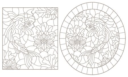 A set of contour illustrations of stained glass Windows with koi carp fishes on Lotus flowers , dark contours on a white background