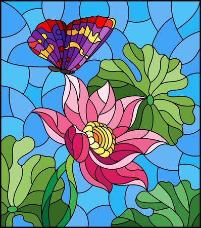 Illustration in stained glass style with flowers, buds and leaves of a pink Lotus and a butterfly on a blue sky background