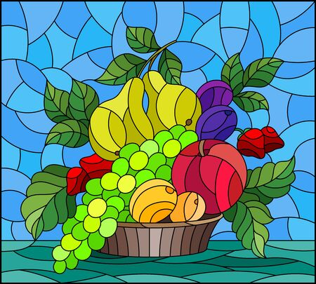 Illustration in stained glass style with a fruit still life , ripe berries and fruit in a basket on a table on a blue background