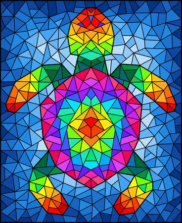 Illustration in stained glass style with an abstract rainbow mosaic turtle on a blue background, rectangular image