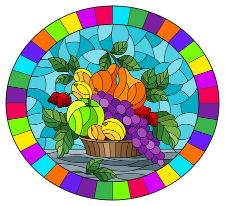Illustration in stained glass style with a fruit still life , ripe berries and fruit in a basket on a table on a blue background, oval image in bright frame