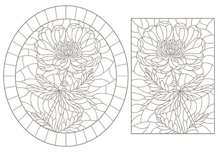 Set of contour illustrations in stained glass style with flowers and dragonflies, dark outlines on a white background