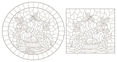 Set of contour illustrations of stained glass Windows with fruit still lifes, dark outlines on a white background