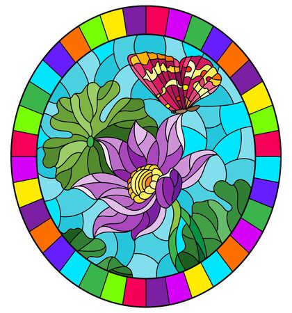 Illustration in stained glass style with flowers, buds and leaves of a purple Lotus and a butterfly on a blue sky background, oval image in bright frame