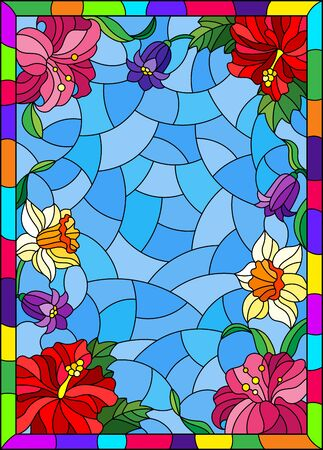 Illustration in stained glass style with a flower arrangement of Bluebell, daffodil, hibiscus and Lily on a blue background in a frame