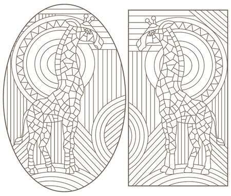 Set of contour illustrations of stained glass Windows with giraffes, dark contours on a white background