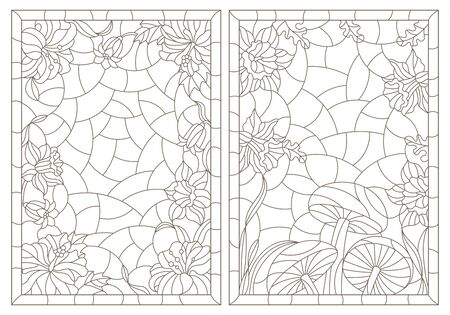A set of contour illustrations of stained glass Windows with flower compositions in frames, dark outlines on a white background Illustration
